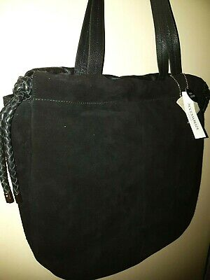 Black Genuine Leather & Suede Shoulder Bag by Accessorize - Brand New with Tags
