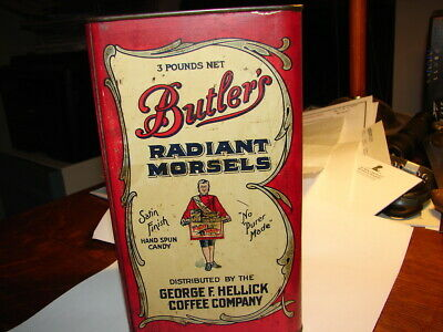 3 LB  Antique Candy Can Container Butlers Radiant Morsels Hellick Coffee Co.