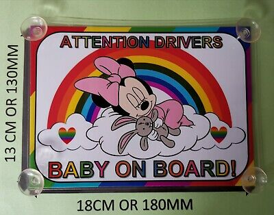 Baby Minnie Mouse rainbow baby Board  Car Laminated Sign