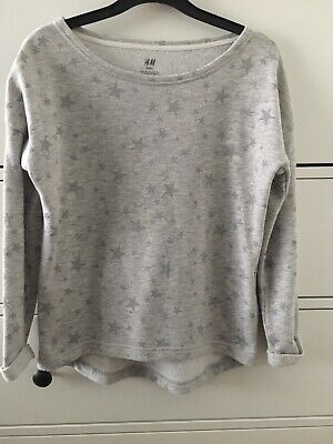 Girls H&M Grey Star Sweatshirt Age 10-12