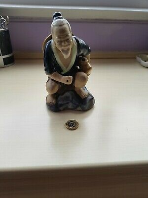 Vintage Chinese Mudmen Glazed Figure Large Old Man.