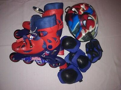 Spiderman Roller Blades With Helmet And Limb Protectors. Shoe Size 3. Child.