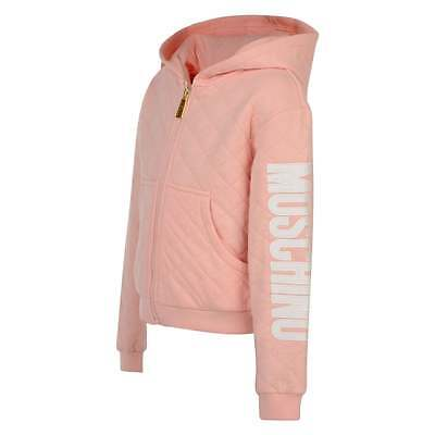 Moschino Young Girl Peach Pink Quilted Tracksuit Jacket Hoodie Top Authentic 5