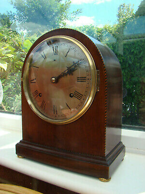Gilbert mahogany mantel clock for restore 8 day strike, working, silvered dial