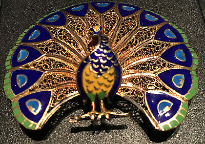 Vintage Portugese Silver Gilt Filigree Blue Green Enamel Peacock Brooch Perfect