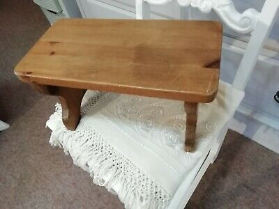 pine antique vintage rustic pine stool , little step table