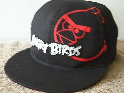 ANGRY BIRDS Black Ball Cap-Flat Bill-Plastic Adjustable Band One Size Fits Most!