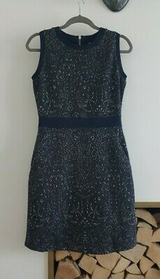 New NEXT Ladies Stretchy Evening Party Dress__Navy Silver Floral__UK 12 / EUR 40