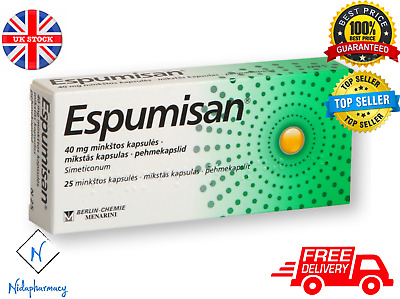ESPUMISAN® Simethicone 40mg - Meteorism Stomach Aches Colic 25 Capsules Tablets