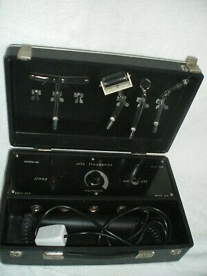 Vintage Violet Ray High Frequency Machine In Case ALTA FREQUENZA 3 Wands UK PLUG