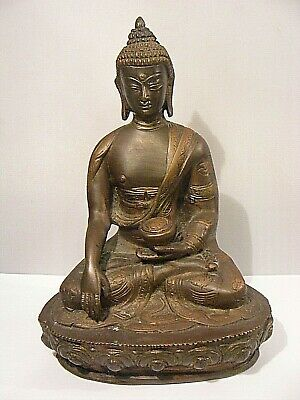 Antique Chinese Bronze Buddha Medicine Tibetan Signed