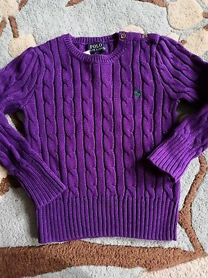 Polo Ralph Lauren Girls Chunky Cable Knit Jumper Cotton Purple Size 2 Years