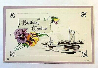 "Antique 1907-15 Embossed ""Birthday Wishes"" Purple Yellow Flowers JE Pitts PC 531"