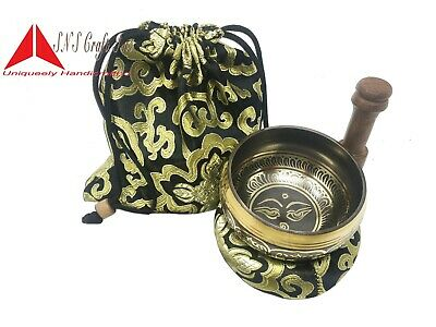 "3.5"" Tibetan Meditation Yoga Singing Bowl Set free  Mallet, Cushion & Carry Bag"