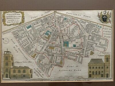 Antique Map of London Aldgate Colour Copperplate Engraving 1754 B. Cole