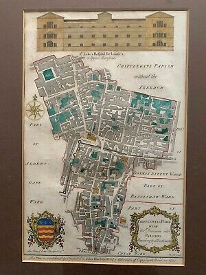 Antique Map of London Cripplegate Colour Copperplate Engraving 1754 B. Cole