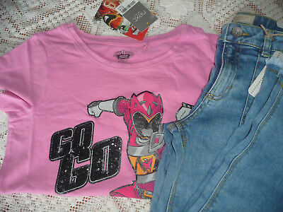BNWT Next Girls Flare Jeans & Power Rangers Pink T-shirt/ Size 13 years
