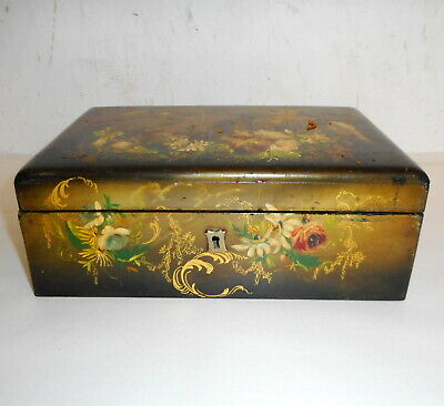 Antique Circa 1880 Victorian Paint Decorated Box