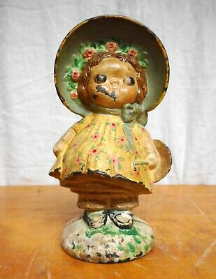 Antique Hubley Doorstop DOLLY DIMPLE Original Paint Toy Bank Conversion