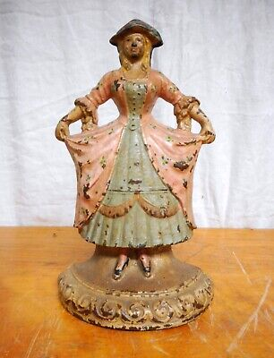 Antique Cast Iron Doorstop LADY #23 in Original Paint Hubley