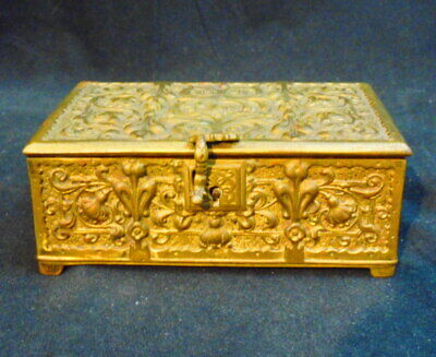 Antique Fancy Relief Bronze Box Nice Detail & Condition Circa 1910