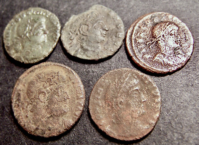 5 Roman Coins Lot, Constantinian Soldiers, Spears, Sheilds, Military Standards
