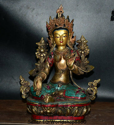"12.8"" Old Tibet Buddhism Bronze Turquoise red coral Green Tara Goddess Statue"