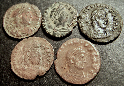 5 Imperial Roman Coins Lot, Emperors Drag Captives, ☧ Chi-Rho Christogram