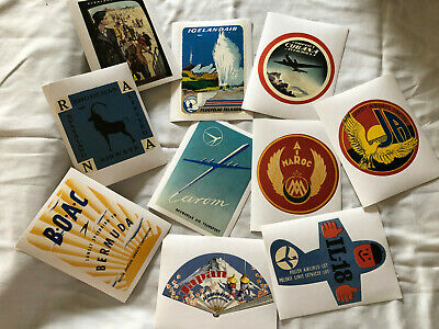 10 TEN  Airline Vintage Style Travel Decasl Vinyl Stickers Great Luggage Labels!