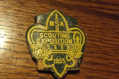 Boy Scout Neckerchief Slide Leather 1955 Scouting Exposition