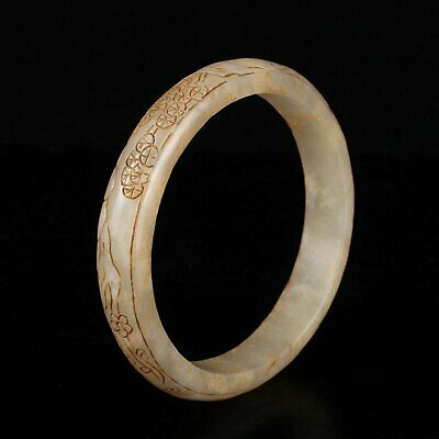 Chinese Exquisite Hand carved Hetian jade bangle 81mm