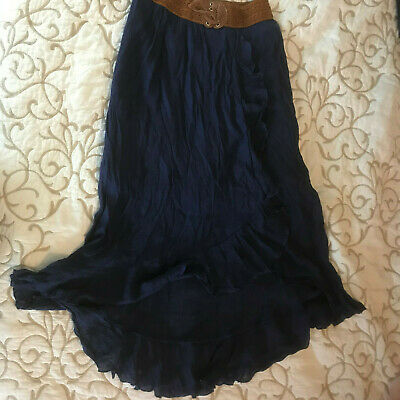 Long Midnight Blue Skirt w/ Faux Leather Waist - Girls Size 12 - Gorgeous