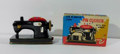 Vintage Japan Ceramic Sewing Machine Shape Pin Cushion & Tape Measure with Box