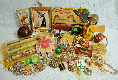 Vintage Junk Drawer-Jewelry, Pins, Angel Figure Buttons Fun Miscellaneous