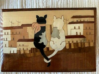 "Vintage Italian Wood Inlay inlaid ""Cats in Love""  Music Box CATZ"
