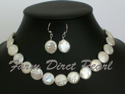 """18"""" Inch Set Genuine White Coin Pearl Necklace Earrings Freshwater Silver"""