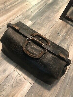 Vintage 1900's Leather Doctors Bag Distressed