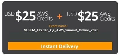 Lot of 2 AWS $25 Credits Code NON-EDU (total value $50)