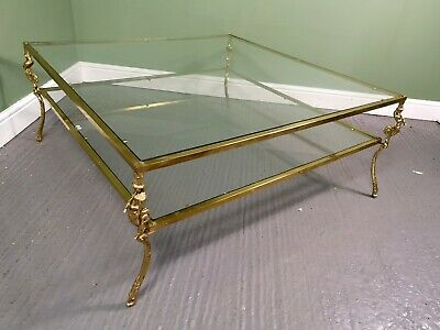 An Antique mid 20th Century Brass & Glass Coffee Table ~Delivery Available~