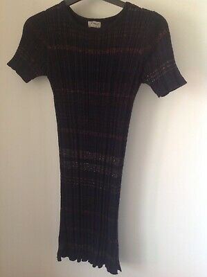 Girls Dress, Stretch Knit, Black Sparkly Stripes, Next, Size 11yrs, 146cm, Used