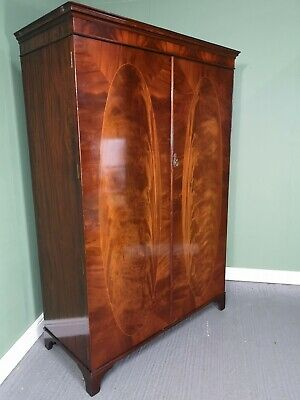 An Antique Style Flame Mahogany Double Wardrobe ~Delivery Available~