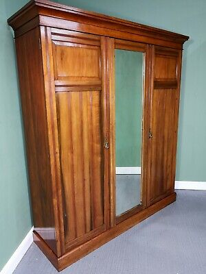 An Antique Edwardian Walnut Triple Wardrobe ~Delivery Available~