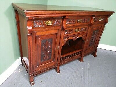 An Antique Victorian Walnut Carved Sideboard ~Delivery Available~