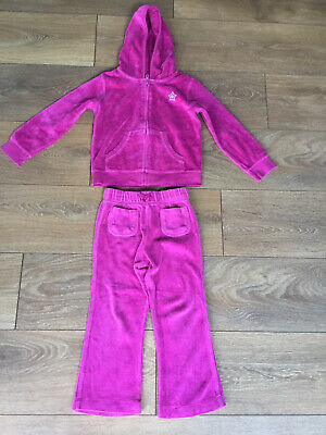 Girls Pink Cherokee Velour Tracksuit Age 3-4