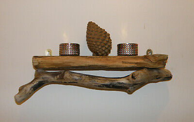 Handcrafted Driftwood Candle Shelf - Long