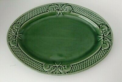 Bordallo Pinheiro - Portugal -Green  Oval  Bunny Platter - 15 1/2""