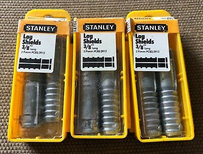 """Vintage NOS Stanley 3/8"""" Lag Shields Lot of 6 - 3 Packs of 2 - USA"""