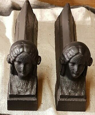 Antique French Cast iron Andirons / Fire dogs.