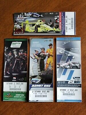 Indy 500 Ticket Stubs, Indy Car, Indianapolis Motor Speedway Memorabilia Lot