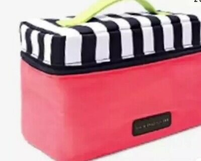 Victoria's Secret Lingerie Train Case Travel Bag Pink Striped Bra Panties  NWT
